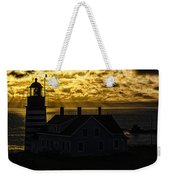 Golden Backlit West Quoddy Head Lighthouse Weekender Tote Bag