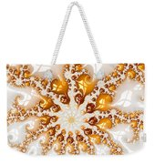 Golden Brown And White Luxe Abstract Art Weekender Tote Bag