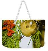 Golden Christmas Finch Weekender Tote Bag