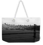 Golden Gate Bridge In Black And White Weekender Tote Bag by Linda Woods