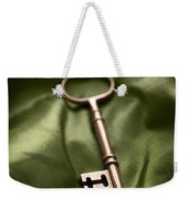 Golden Key On Green Silk  Weekender Tote Bag