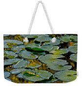 Golden Lilly Pads Weekender Tote Bag