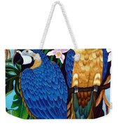Golden Macaw Hand Embroidery Weekender Tote Bag