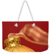 Golden Ornament With Striped Ribbon Weekender Tote Bag