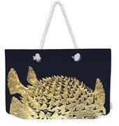 Golden Puffer Fish On Charcoal Black Weekender Tote Bag