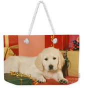Golden Retriever Amongst Presents Weekender Tote Bag