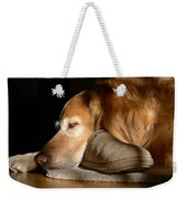 Golden Retriever Dog With Master's Slipper Weekender Tote Bag by Jennie Marie Schell