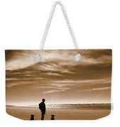 Golden Retriever Dogs End Of The Day Sepia Weekender Tote Bag by Jennie Marie Schell
