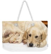 Golden Retriever Puppies Suckling Weekender Tote Bag