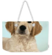 Golden Retriever Puppy With Rose Weekender Tote Bag
