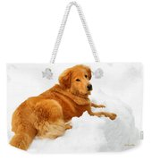 Golden Retriever Snowball Weekender Tote Bag by Christina Rollo