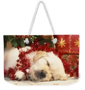 Golden Retriever Under Christmas Tree Weekender Tote Bag