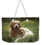 Golden Retrievers Dog And Puppy Weekender Tote Bag