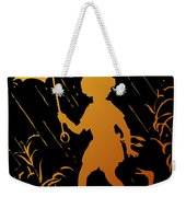 Golden Silhouette Of Child And Geese Walking In The Rain Weekender Tote Bag