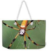 Golden Silk Spider Capturing A Stinkbug Weekender Tote Bag