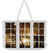 Golden Sun Silhouetted Tree Branches White Window View Weekender Tote Bag