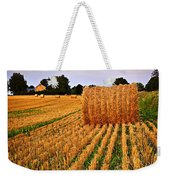Golden Sunset Over Farm Field In Ontario Weekender Tote Bag