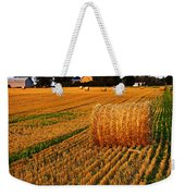 Golden Sunset Over Farm Field With Hay Bales Weekender Tote Bag
