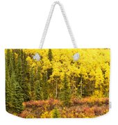 Golden Yellow Fall Boreal Forest In Yukon Canada Weekender Tote Bag