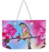 Goldfinch Behind Pink Blossoms 031015aaa Weekender Tote Bag