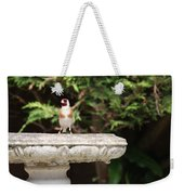 Goldfinch On Birdbath Weekender Tote Bag
