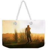 Golfer At Sunset Weekender Tote Bag