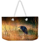 Goliath Heron With Sunrise Over Misty River Weekender Tote Bag