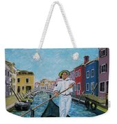 Gondolier At Venice Italy Weekender Tote Bag
