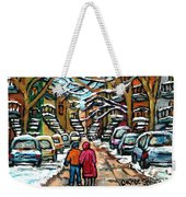 Good Day In January For Winter Stroll Snowy Trees And Cars Verdun Street Scene Painting Montreal Art Weekender Tote Bag