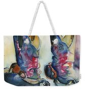 Cowboy Boots In Watercolor Good Ride Weekender Tote Bag
