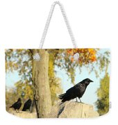 Three Ravens On A Gothic Graveyard Day Weekender Tote Bag