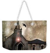 Gothic Surreal Haunted Church And Steeple With Crows And Ravens Flying  Weekender Tote Bag