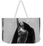 Gothic Surreal Haunting Female Cemetery Mourner Figure Black Caped Woman In Front Of Gravestone Weekender Tote Bag