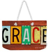Grace License Plate Name Sign Fun Kid Room Decor. Weekender Tote Bag