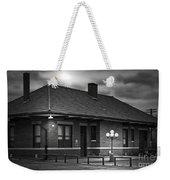 Train Depot At Night - Noir Weekender Tote Bag