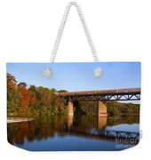 Grand River Autumn Freight Train Weekender Tote Bag