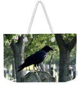Graveyard Bird On Top Of A Tombstone Weekender Tote Bag