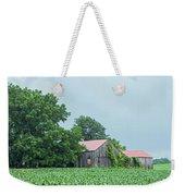 Gray Sky - Red Roofed Barn - Green Fields Weekender Tote Bag