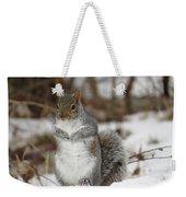 Gray Squirrel In Snow Weekender Tote Bag