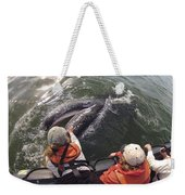 Gray Whale Calf And Tourists Baja Weekender Tote Bag