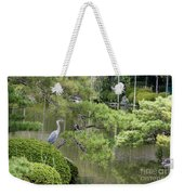 Great Blue Heron In Pond Kyoto Japan Weekender Tote Bag