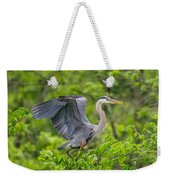 Great Blue Heron Landing Weekender Tote Bag