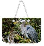 Great Blue Heron On Log Weekender Tote Bag