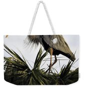 Great Blue Heron On Palm Weekender Tote Bag