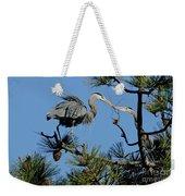 Great Blue Heron With Nest Material Weekender Tote Bag