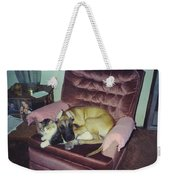 Great Dane Pup And Cat Weekender Tote Bag