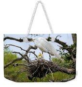 Great Egret Chicks - Sibling Rivalry Weekender Tote Bag by Carol Groenen