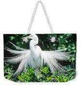 Great Egret Displaying Breeding Plumage Weekender Tote Bag