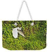 Great Egret Flying Over Rapti River In Chitwan Np-nepal Weekender Tote Bag