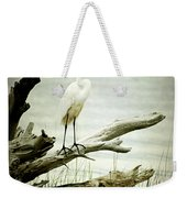 Great Egret On A Fallen Tree Weekender Tote Bag by Joan McCool